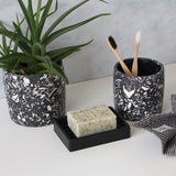 Medium Terrazzo Pot | Jesmonite | Black