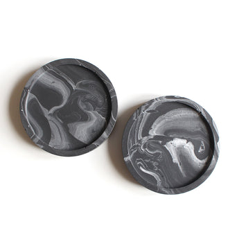 Set of 2 Mini Coasters | Jesmonite | Marbled Black