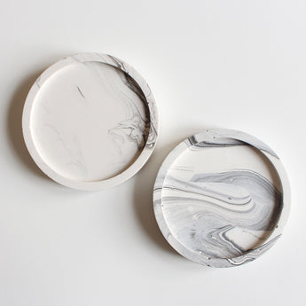 Set of 2 Mini Coasters | Jesmonite | Marbled White