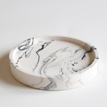 Round Trinket Tray | Jesmonite | Marbled White