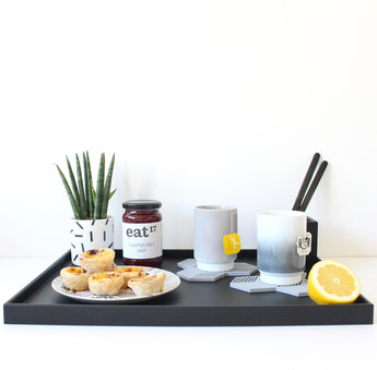 Large Serving Tray | Rubber | Black