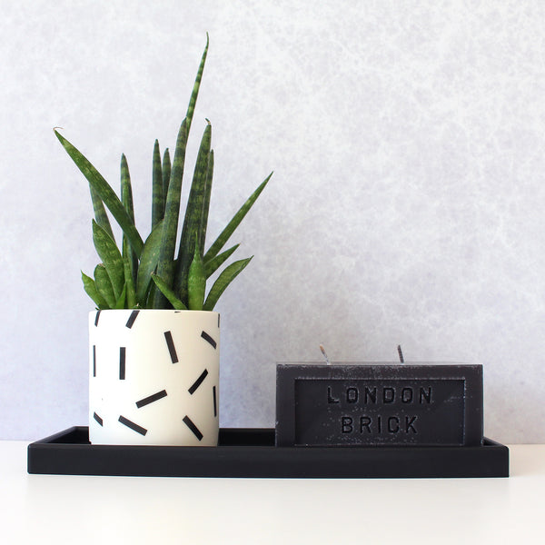 Slim Rectangular Tray | Rubber | Black