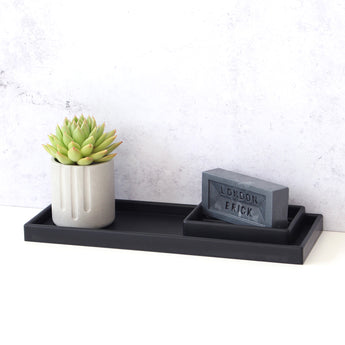 Small Rectangular Tray | Rubber | Black