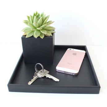 Small Square Tray | Rubber | Black