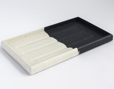Rectangular Tray | Jesmonite | Black and White