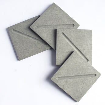 Set of 4 Square Coasters | Jesmonite | Grey
