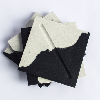 Set of 4 Square Coasters | Jesmonite | Black and White