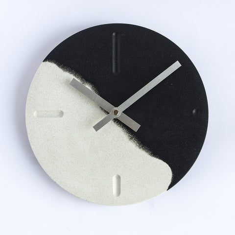Minimal Wall Clock | Jesmonite | Black and White