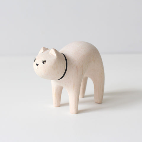 Wooden Animals by T-Lab Japan | White Cat