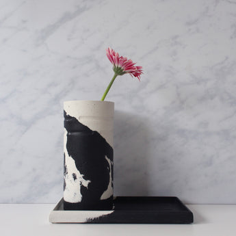 Tall Round Vase | Jesmonite | Black and White
