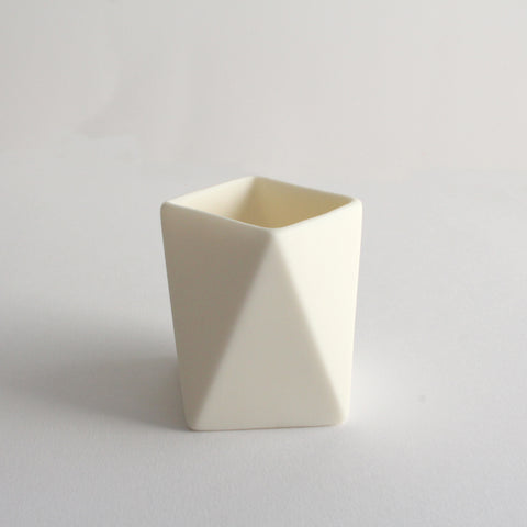 Small Geometric Pot | White