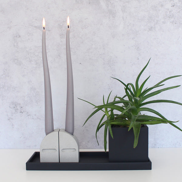 Taper Candle Holder Set | Jesmonite | Grey
