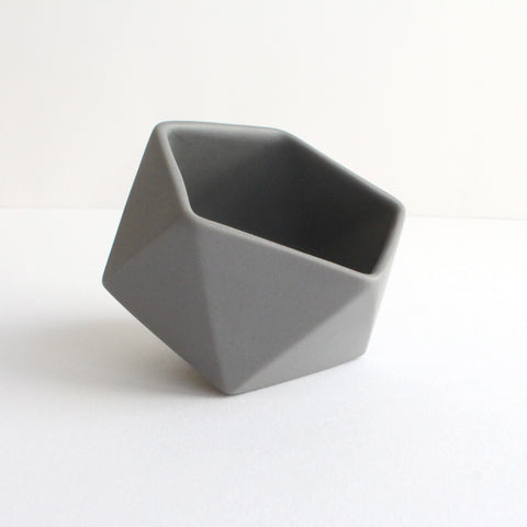 Geometric Ceramic Pot | 'Tilted Icosahedron' | Grey