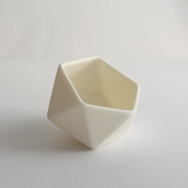 Geometric Ceramic Pot | 'Tilted Icosahedron' | White