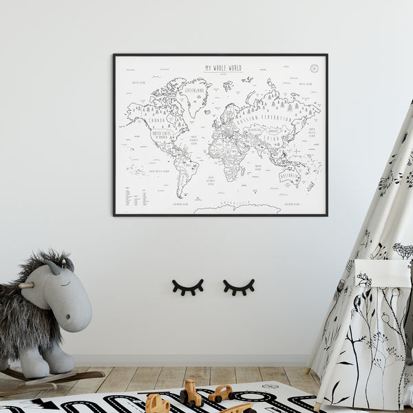 Print | 'My Whole World' Map | Black and White