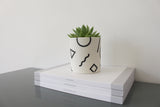 Ceramic 'Shapes' Pot | Small | Black and White