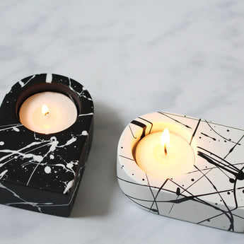 Splatter Tealight Candle Holders | Set of 2 | Black and White