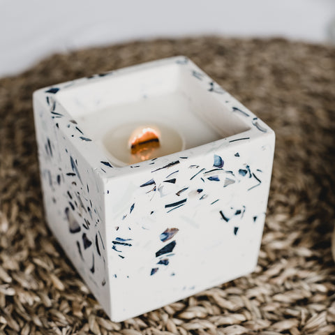 Coconut + Soy Wax Candle in Square Pot | Recycled Shell Terrazzo