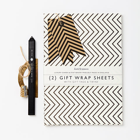 Luxury Gift Wrap Set | Zig-Zag | Black and White