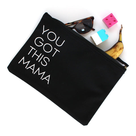 Organic Cotton Zip Pouch | You Got This Mama | Black