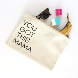 Organic Cotton Zip Pouch | You Got This Mama | Natural White