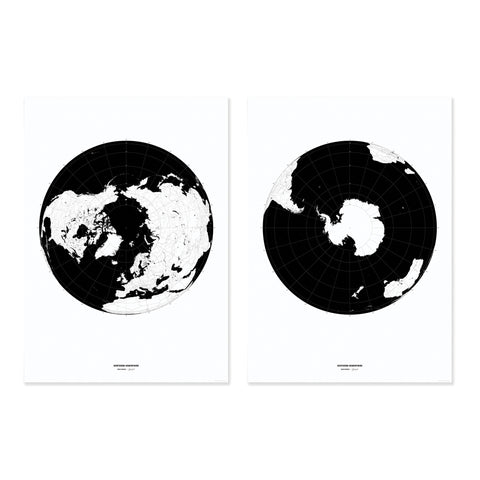 Print | Polar Maps - Set of 2 Posters | Black and White