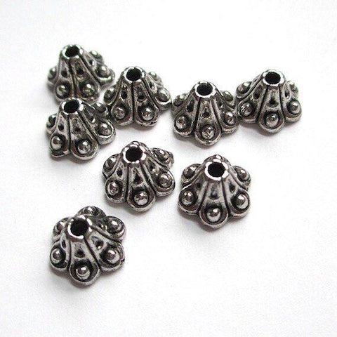 Antiqued silver metal bead caps Bali style fluted cones