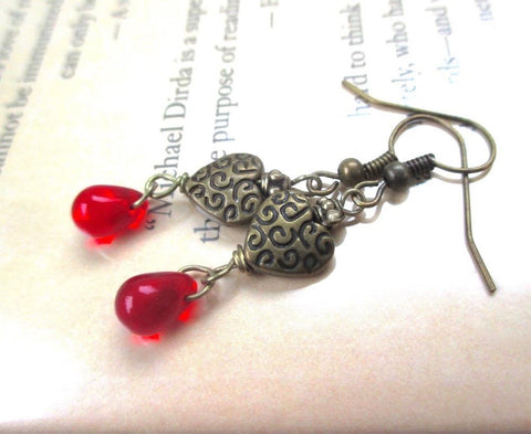 Bleeding Hearts Dangle Earrings