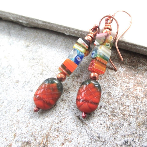 Bright Multi Color Earrings with Italian Murano Venetian Glass Millefiori and Czech Glass Beads