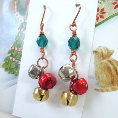 Colorful Sleigh Bells Earrings Silver Gold Red Small Bells & Green Beads