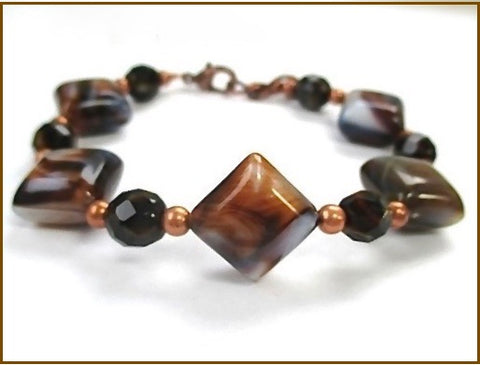 Earth Tone Beaded Bracelet with Glass Tiger Eye, Brown and Cream Acrylic Puffed Diamonds and Copper