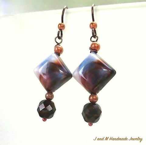 Tiger Eye Earthy Earrings with Chunky Glass and copper