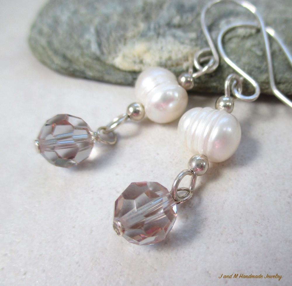 Elegant Pearl and Crystal Dangle Earrings with Sterling Silver