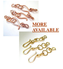 Set of 3 Hook and Eye clasps copper or brass handmade findings, closures, fasteners