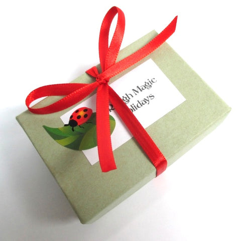 Complementary gift box included with purchase from J and M Handmade Jewelry.