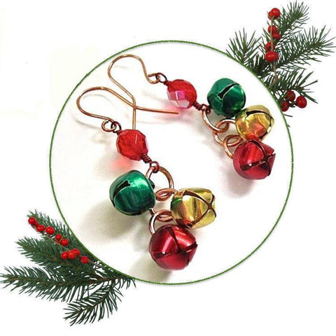Jingle Bells Christmas Earrings Red Green Gold with Copper