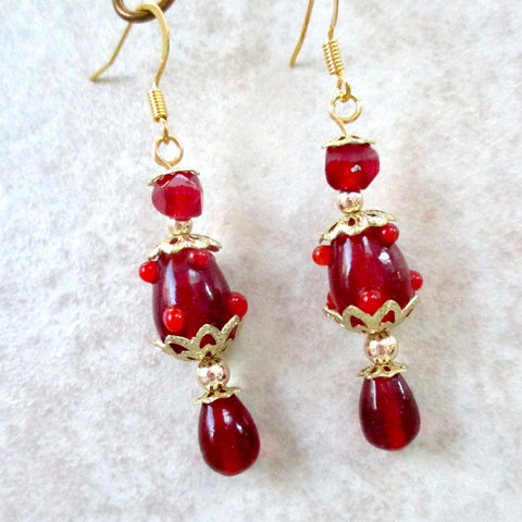 Red and Gold Long Dangle Earrings
