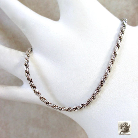 Vintage 925 Sterling Silver Rope Chain Bracelet made in Italy.