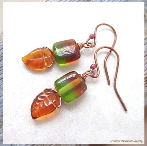 Sweet Autumn Leaves Earrings with Amber Topaz and Green Czech Glass Dangles and Hand Forged Copper Hook Ear Wires