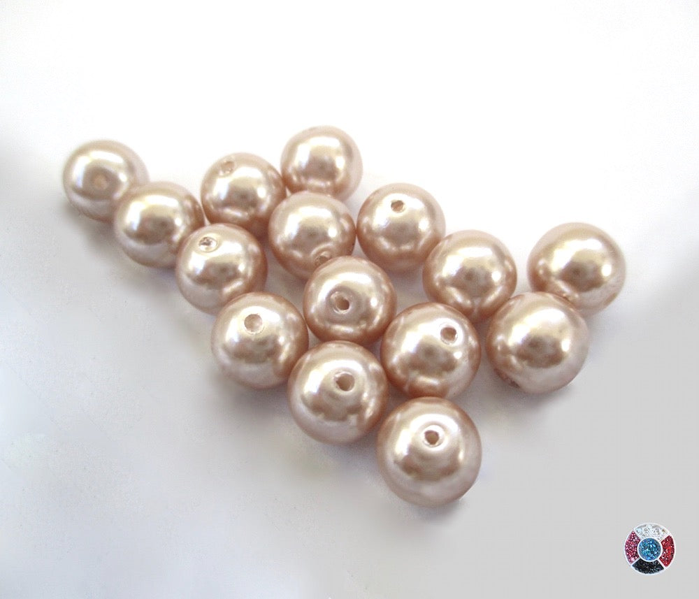 Vintage glass pearls, imitation pearls 8mm round beads Champagne color coated