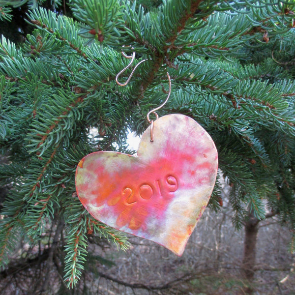 Year Date Christmas Ornament Copper Heart