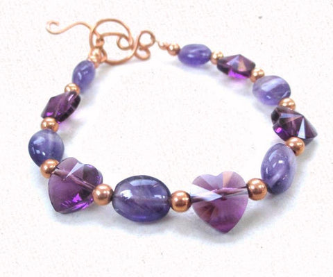 Purple Hearts Bracelet Amethyst Gemstones, Crystal Hearts & Copper
