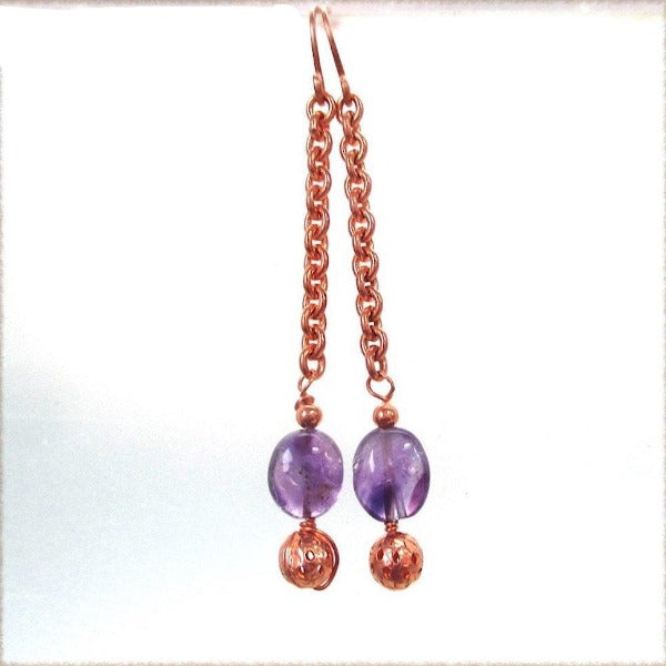 Amethyst Earrings, Purple Gemstone Shoulder Dusters, Long Copper Chain