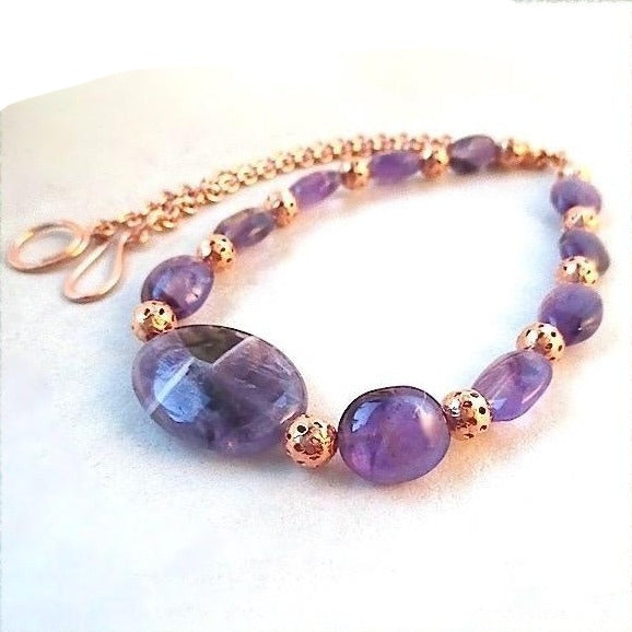 Amethyst Necklace with Purple Gemstones and Copper