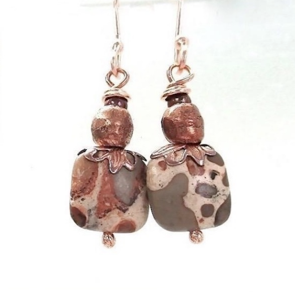 Animal Print Earrings Safari Jasper Gemstones & Copper Trade Beads