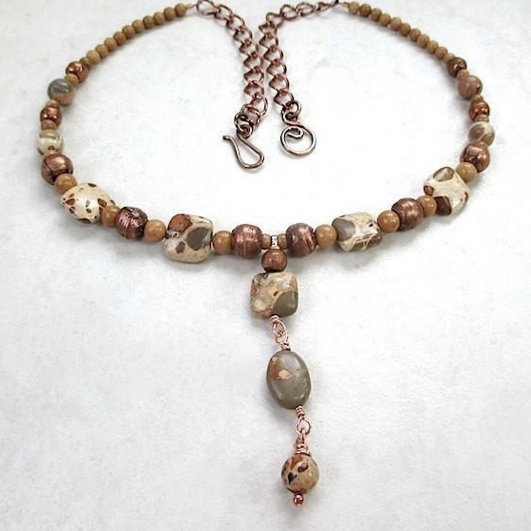 Animal Print Pendant Necklace Natural Brown Khaki Tan Stones