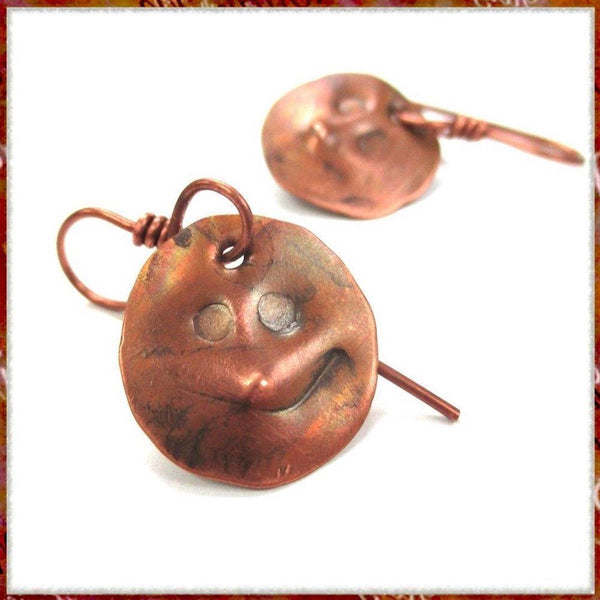 Rustic Copper Earrings, Funny Smiling Faces