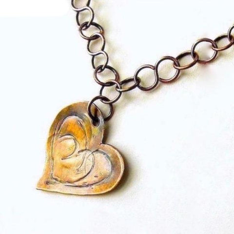Antiqued Copper Heart Asymmetrical Pendant, Rustic Chain Necklace, Hammered Metal Jewelry