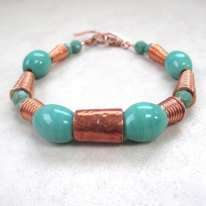 Aqua Ceramic Bracelet with Copper and Czech Glass Beads