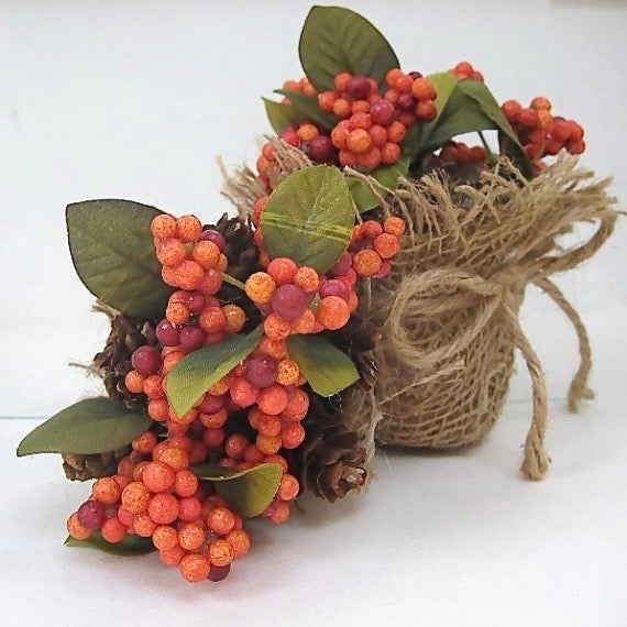 Set of 2 Autumn and Thanksgiving mini centerpieces for small table settings. Eco-friendly accent decorations in natural fall color palette, handmade by Rough Magic Creations for Wall and Table Home Decor online shop on Prospero Lane.